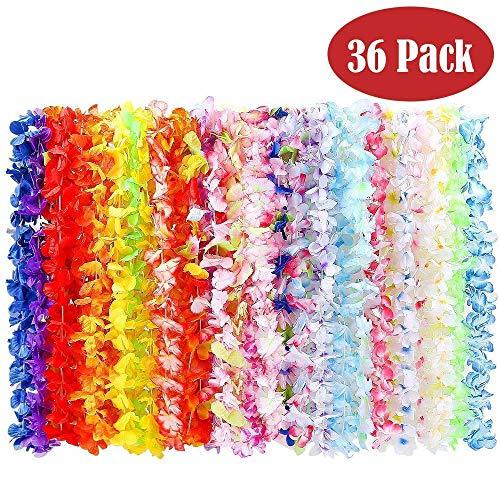 BangShou Flores Hawaianas Guirnalda Hawaiana Collar Pulsera Coloridos Reutilizables de...