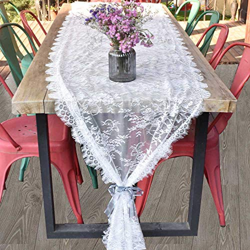 Awtlife - Camino de Mesa de Encaje Blanco para decoración de Boda Vintage, 70 x 300 cm