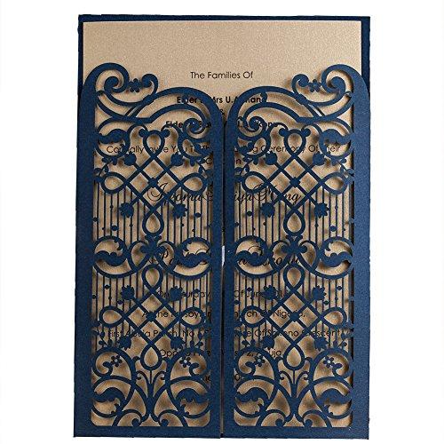 50 WISHMADE Azul Elegante Compromiso de boda con corte láser, Invitación de doblez de la...