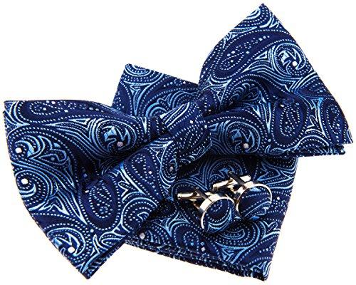 Conjunto de pajarita (12,7cm), pañuelo de bolsillo y gemelos con estampado de cachemir,...
