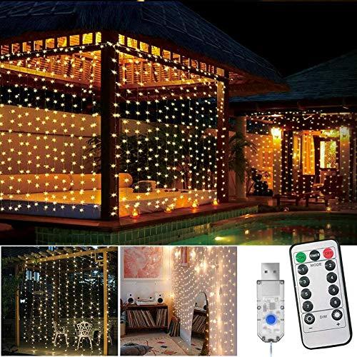 Cortina de luces LED, USB, 3 x 3 m, 300 ledes, blanco cálido, USB, 8 modos con mando a...