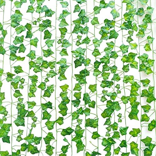 SOMONEY 15 paquetes de 105 pies Plantas Hiedra Artificial Decoración Interior y Exterior...