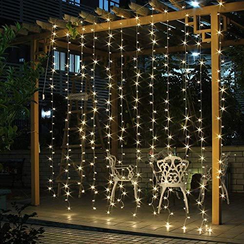 SALCAR Cortina de luces LED 3 * 3 metros, 300 LEDs, Luz de la Cortina para navidad,...