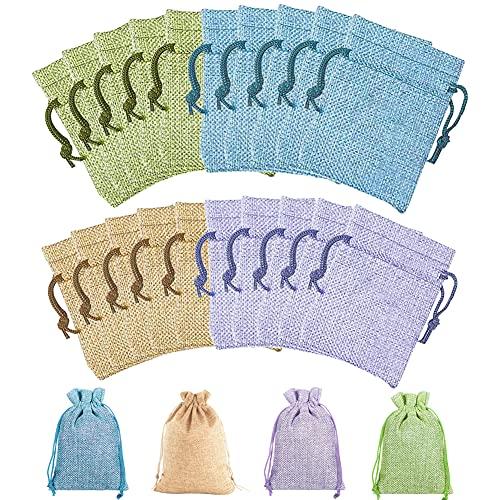 Bolsitas Saco de Yute / 24 Piezas Bolsas de Regalo con Cordón / Algodón Reutilizable...