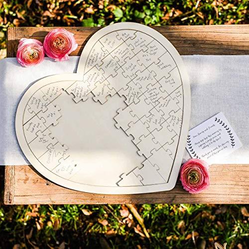 DISOK - Puzzle Libro de firmas madera corazón. Original Libro Firmas Bodas, Bautizos,...