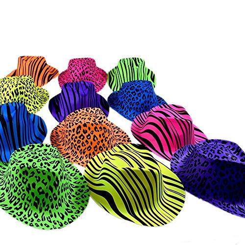 Novelty Place [Estrellas de la Fiesta Sombreros Plásticos de Neón para Fiesta Estampado...