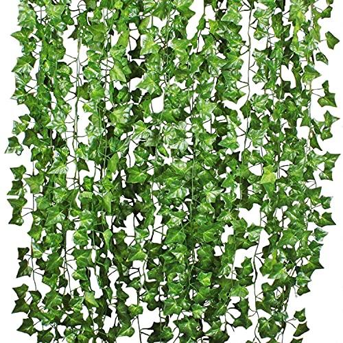 Plantas Hiedra Artificial Decoración Interior y Exterior - YQing 84ft-12 Guirnalda Hiedra...