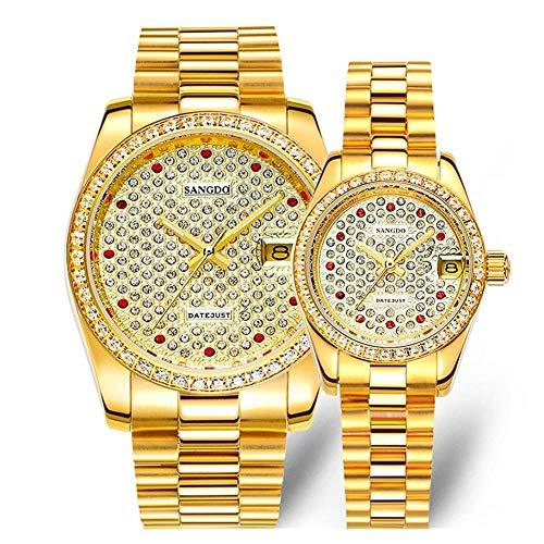 Pareja Relojes Oro y Diamante Dial Hombres Mujeres Acero Inoxidable Juego de Reloj...