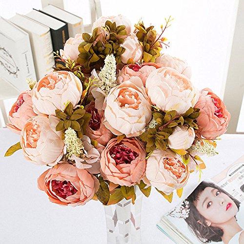 Lanyifang Ramo de Flores de Peonia Artificiales Ramo de Flores de Seda 13 Cabezas para...