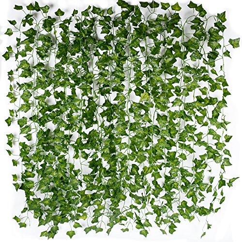12pcs x 2m Plantas Hiedra Hojas de Vid Artificial Guirnalda Plantas Decoración Verde...