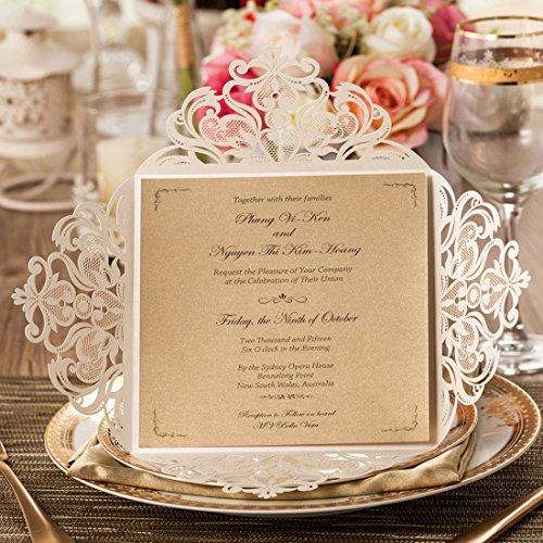 Wishmade Kits de tarjetas de Invitaciones de boda marfil, 50 piezas cuadrado patrón de...